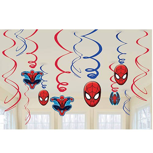 Marvel Ultimate Spiderman Birthday Party Swirl Decorations - 12ct