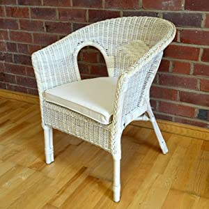 Hand Woven Wicker Rattan Bedroom Chair Seat Pearl Cream Colour With Cushion