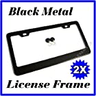 2PCS BLACK METAL LICENSE PLATE FRAMES + MATCHING SCREW CAPS TAG COVER