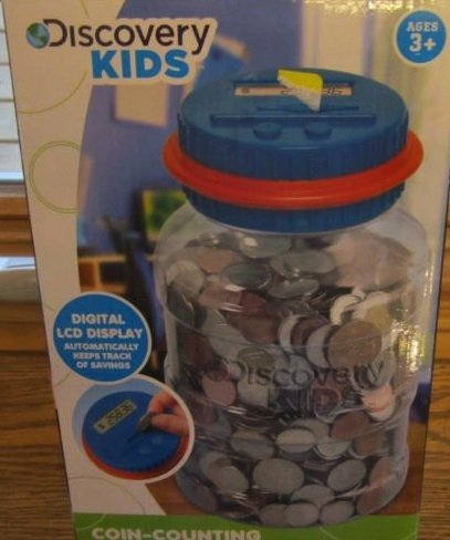 Discovery Kids Coin Counting Money Jar Electronic Bank Digital Coin Counter Blue