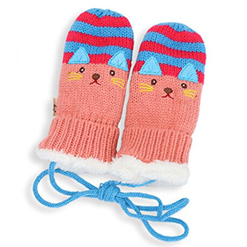 Pumud Cute Cartoon Knit Unisex Baby Kid Keeping Warm Gloves (Pink)