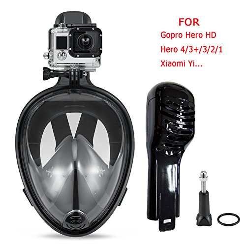 Snorkeling Mask,Seaview 180 Degree Scuba Diving Full Face Free Breath Design Breath Ventilation Concept Anti-Leak Anti-Fog Swimming Mask For Gopro Hero 4/3+/3/2/1 SJ4000SJ5000Action Camera-S/M
