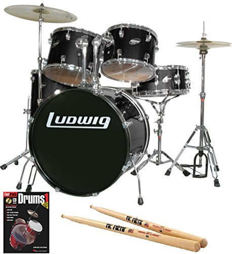 ludwig-accent-drive-black-5-piece-drum-set-bundle-with-vic-firth-american-classic-5a-firth-drumstick