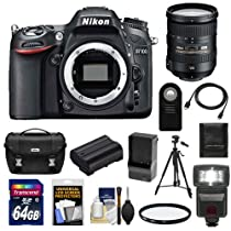 Nikon D7100 Digital SLR Camera Body with 18-200mm Lens + 64GB Card + Battery & Charger + Case + Flash + Filter + Tripod + Accessory Kit