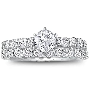 14K White Gold Diamond Engamgent Ring Set( 3 3/4ct G/H SI Size 4-9)