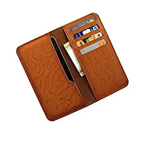 i-KitPit : PU Leather Wallet Flip Pouch Case For HTC Desire 200 (BROWN)