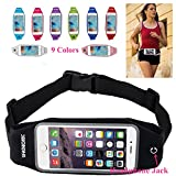 uFashion3C Universal Running Waist Fanny Pack Belt Pouch Case for iPhone 6, 6S, 6 Plus, 6S Plus, Samsung Galaxy S5, S6, Note 4, 5, LG G3, G4 with OtterBox / LifeProof Waterproof Case (Black)