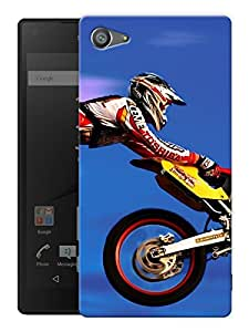 """Humor Gang Motocross And Motorcycles Love - Blue Printed Designer Mobile Back Cover For """"Sony Xperia Z5 Mini - Compact"""" (3D, Matte, Premium Quality Snap On Case)"""