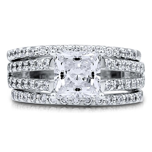 BERRICLE Princess CZ Sterling Silver 3Pc Bridal Engagement Wedding Ring Band Set 1.96 Ct