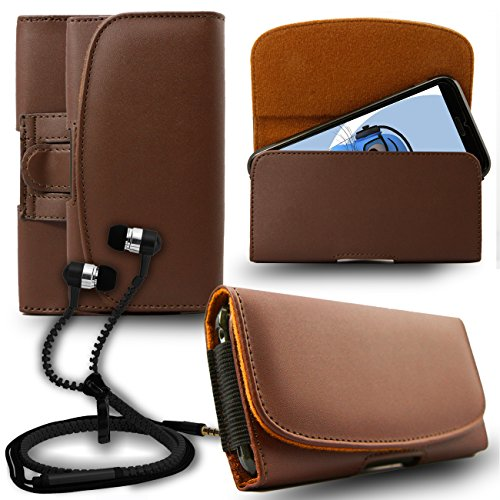 iTALKonline Samsung Galaxy A5 SM-A500G/DS Brown PREMIUM PU Leather Horizontal Executive Side Pouch Case Cover Holster with Belt Loop Clip and Magnetic Closure Includes Brown Premium 3.5mm Aluminium High Quality In Ear Stereo Wired Headset Hands Free Headphones with Built in Mic Microphone and On Off Button  available at amazon for Rs.565