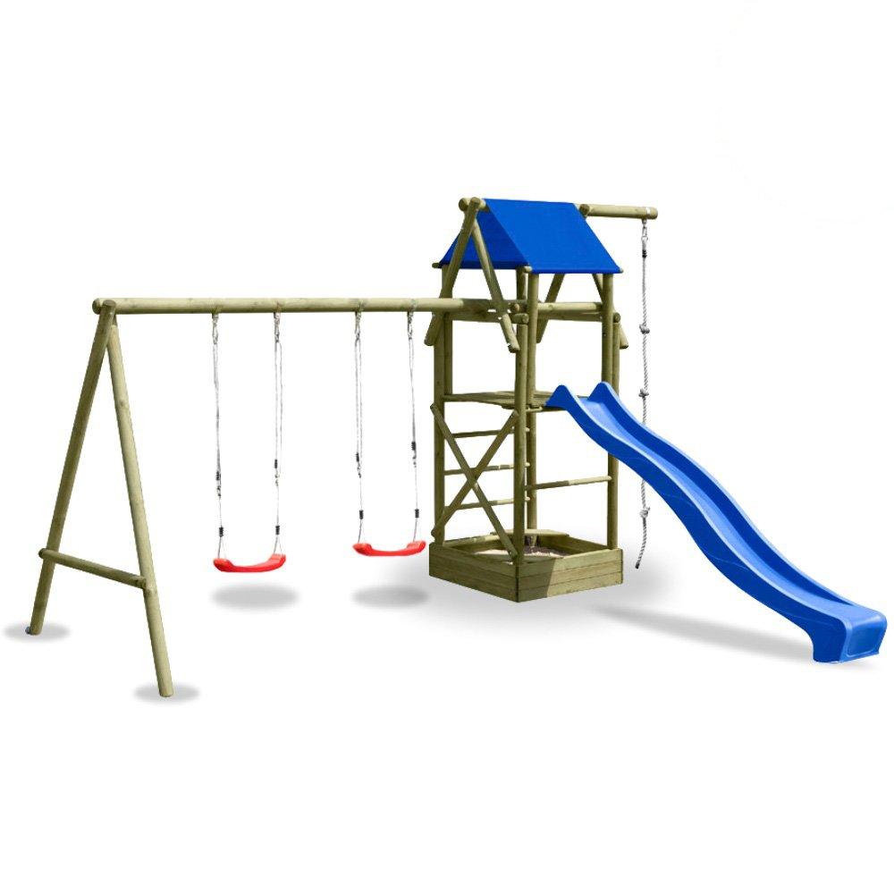 WICKEY Spielturm Classic M mit Schaukel, Sandkasten, Knotenseil und blauer Rutsche günstig