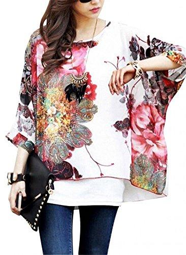 T Shirt con Stampa - Feelme Camicette Magliette Camicia Chiffon Girocollo Camicie Sciolto Blusa Eleganti Camicetta Maniche manica 3/4 Donna (Boho-27)