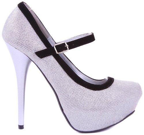Jjf Shoes Silver Neutral Sparkle Glitter Mary Jane Velvet Trim Evening Stiletto Heel Platform Pump-6.5