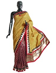 Yellow Silk And Maroon Tussar Designer Half Saree With Golden Zari Design On Pleats, Border And Pallu - Tussar...