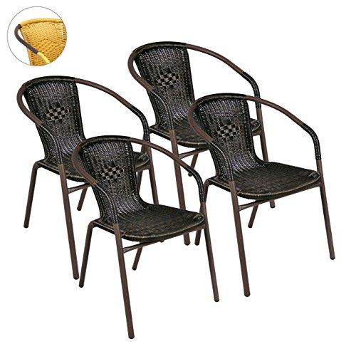 4er-Set-Bistrostuhl-Stapelstuhl-Balkonstuhl-Poly-Rattan-Gartenstuhl-Terrasse-Stuhl-braun
