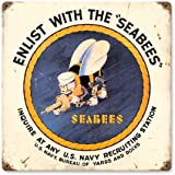 Sea Bees Vintage Metal Sign 12 X 12 Enlist USN Navy Pride Seabee Steel Not Tin