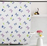 "Home Candy Kids Attractive Butterflies PEVA Shower Curtain with 6 Hooks - 70""x70"", Multicolor"