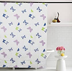 Home Candy Kids Attractive Butterflies PEVA Shower Curtain with 6 Hooks - 70