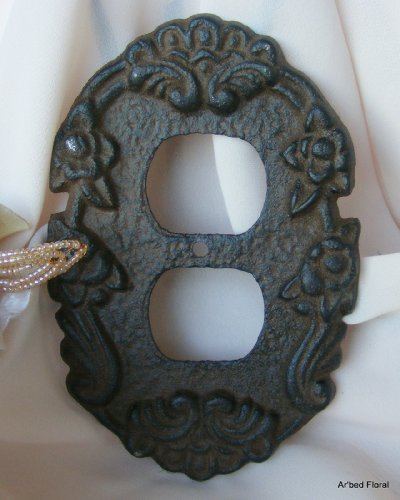 American Mercantile Cast Iron Decorative Outlet Cover, Rustic Brown front-182494
