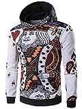 XQS Men's Fashion Hoodies Poker Patterns Pullover Sweatshirts White US L