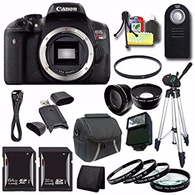 Canon EOS Rebel T6i DSLR Camera (Body Only) 0591C001 + 64GB SDXC Card + 32GB SDHC Card + Wide Angle Lens + 2x Telephoto Lens + UV Filter + Case + Tripod + External Flash + Saver Bundle
