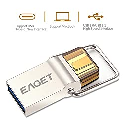Eaget CU10 Type C OTG USB 3.0 High Speed Flash Drive for Cell Phones and Tablet PCs,Water Resistant,Shock Resistant,Compact Size,Key Ring Included,32GB