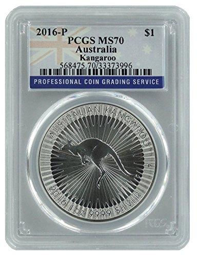 2016 AU Silver Kangaroo Flag Label 1 OZ MS70 PCGS