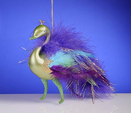 De Carlini Green Peacock Multicolor Feathers Mouthblown Ornament