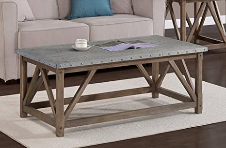 Best Home Cool Wood and Metal Zinc Top Bridge Living Room Coffee Table