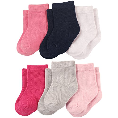 Luvable Friends 6-Pack Baby Colored Crew Socks, Girl Solids, 12-24 Months