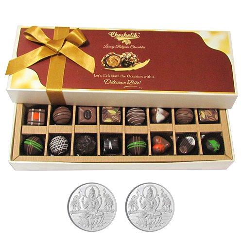 Chocholik Belgium Chocolates - Amazing Combination Of 8 Dark And 8 Milk Chocolate Box With 5gm X 2 Pure Silver...