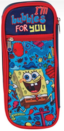 "Staples Spongebob Squarepants Double Pocket Pencil Case ~ I'm Bubbles for You (8.75"" x 4"" x 1.5"")"