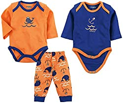 Snuggles Full Sleeve Bodysuit with Pant Dolphin print (Pack of 3) - Melon/Classic Blue (0-3M)