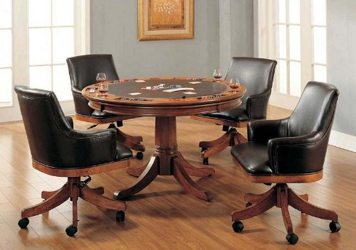 Buy Low Price Hillsdale 5pc Game Dining Table and Chairs Set in Medium Brown Oak Finish (HS-4186GTBCB)