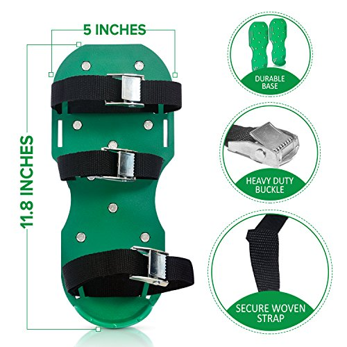 "Lawn Aerator Shoes - Heavy Duty 2"" Spiked Sandals for Aerating Your Lawn or Yard - Revive Your Lawn Roots with Lawn Aerator Shoes - comes with a Weed Pulling Tool"