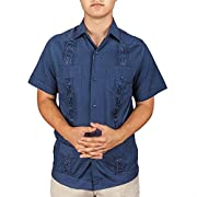 Embroidered cotton blend guayabera color navy.
