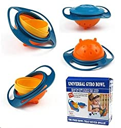 Shopos Universal 360 Degrees Rotates Spill Proof & No Mess Gyro Bowl For Baby Kids