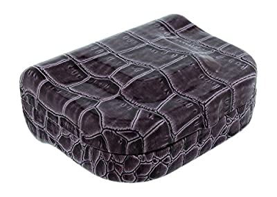 Faux Patent Leather Croco Contact Lens Travel Case Beige Black Brown Purple Red