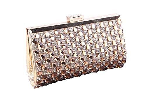 BAIGIO Borsetta con Tracolla da Donna Pochette con Diamante Elegante Borsetta da Sera Matrimonio Portafoglio Lungo, Oro