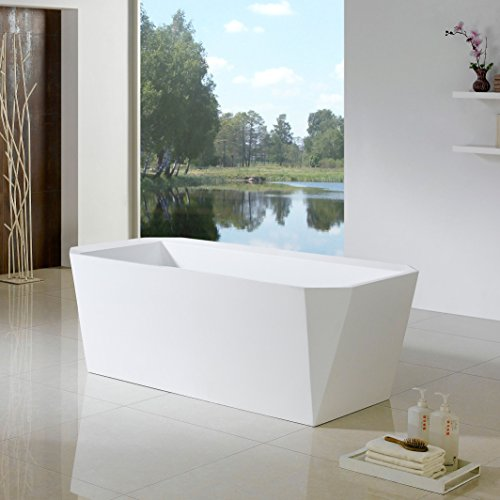 MAYKKE Calabasas 67 Inches Modern Rectangle Acrylic Bathtub Freestanding White Tub in Bathroom, 14-3/16 Inches Water Depth, XDA1435001 (Freestanding Cadet compare prices)