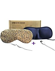 Light Cast Eye Mask USB Warm Heating Buy One Get One 3D Eye Mask For Free (Leopard Brown + Navy)