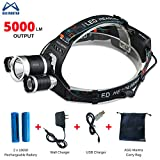 Brightest LED Headlamp, 5000 Lumen Flashlight, Headlight, with Rechargeable Batteries, Good for Hiking, Camping, Riding, Fishing, Hunting, Outdoor Activities. 3 CREE XM-L2 T6 LED - By ASG Mantra