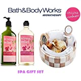 Bath & Body Works Sandalwood Rose Deluxe Spa Set Aromatherapy Stress Relief Body Wash & Foam Bath and Body Lotion Plus Spa Crate