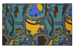 Associated Weavers - Alfombra infantil (100 x 165 cm), diseño de ciudad con carreteras