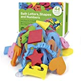 44 Piece Set Foam Bath Letters and Numbers With Bonus Shapes. Mesh Bath Toy Organizer Included To Prevent Mold And For Tidy Storage. Suction Cups Stick To Wall. 100% Non Toxic, Lead, BPA & PVC Free.