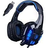 GW SADES SA718S USB Stereo Wired PC Gaming Headset Over-Ear Headband Headphones With Microphone Vibration LED...