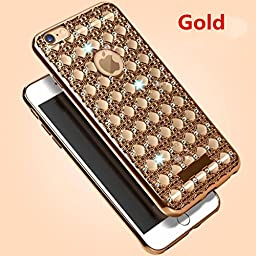 Galaxy S7 Edge Case, Inspirationc® Soft Slim Electroplated Transparent Crystal TPU Diamond Rhinestone Sparkle Beauty Case Cover for Samsung Galaxy S7 Edge--Gold