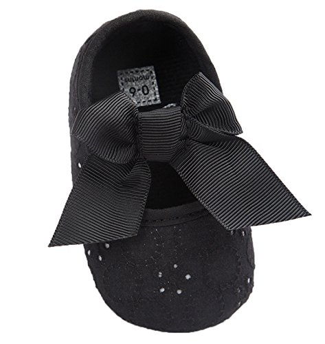 Santimon Baby Girl Shoes Soft Soled Bowknots Crib Walking Moccasins Prewalker Sneakers Black 6-12 months/5 M US Toddler