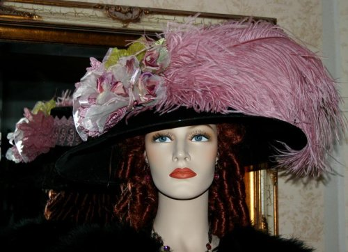 "Buy Kentucky Derby Hat Edwardian Hat Tea Hat Designed by Darna ""Run for the Roses Crystal Fairy"" Black & Dusty Pink"