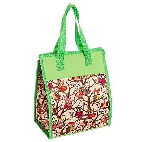 Womens Nylon Insulated Lunch Tote Bag (Lime Green Owl) - 1